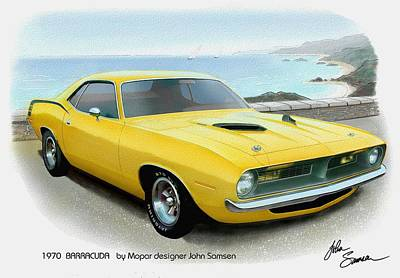 Roadrunner Digital Art - 1970 Barracuda Classic Cuda Plymouth Muscle Car Sketch Rendering by John Samsen
