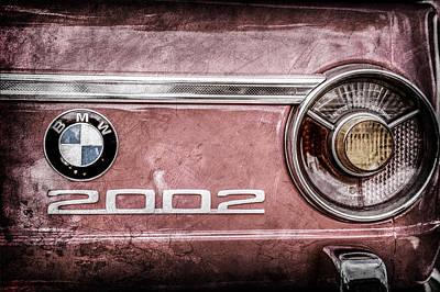 Bmw Vintage Cars Photograph - 1970 Bmw 2002 Taillight Emblem -0133ac by Jill Reger