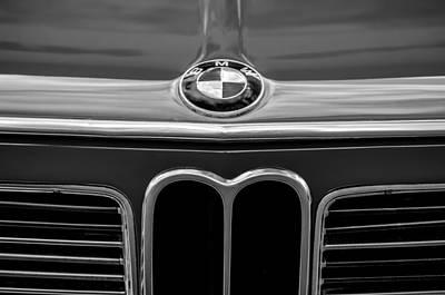 Bmw Vintage Cars Photograph - 1970 Bmw 2002 Hood Emblem -0645bw by Jill Reger