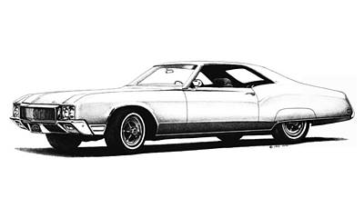 Buick Drawing - 1970 Buick Riviera by Nick Toth