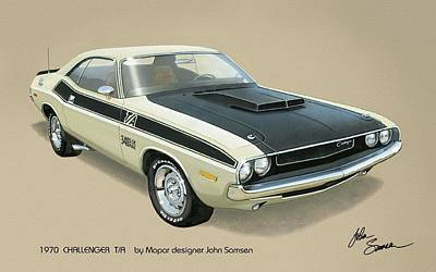 Roadrunner Digital Art - 1970 Challenger T-a Dodge Muscle Car Classic by John Samsen