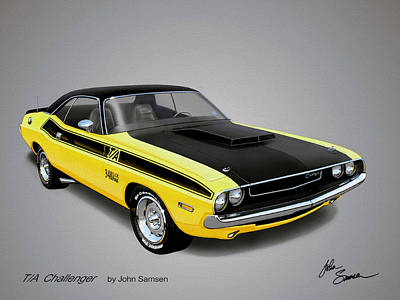Plymouth Cuda Painting - 1970 Challenger T-a Muscle Car Sketch Rendering by John Samsen