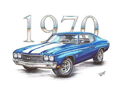 Chevrolet Chevelle Drawing - 1970 Chevrolet Chevelle Super Sport by Shannon Watts