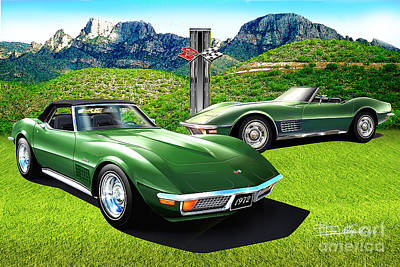 Cars Drawing - 1970 Chevrolet Corvette Arizona Edition by Danny Whitfield