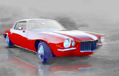 Old Chevy Painting - 1970 Chevy Camaro Watercolor by Naxart Studio