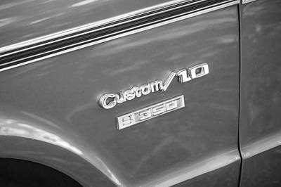 Photograph - 1970 Chevy Custom 350 Truck Bw by Rich Franco
