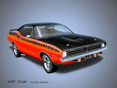 1970 'cuda Aar  Classic Barracuda Vintage Plymouth Muscle Car Art Sketch Rendering         Art Print by John Samsen