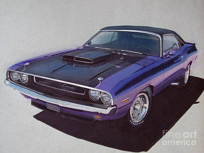 Hot Rod Drawing - 1970 Dodge Challenger by Paul Kuras