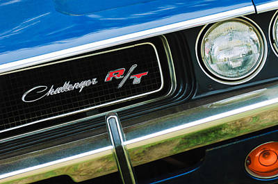 Rt Photograph - 1970 Dodge Challenger Rt Convertible Grille Emblem by Jill Reger