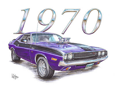 Challenger Drawing - 1970 Dodge Challenger by Shannon Watts