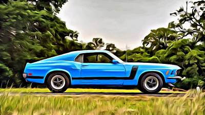 Painting - 1970 Ford Mustang Boss 302 Fastback by Florian Rodarte