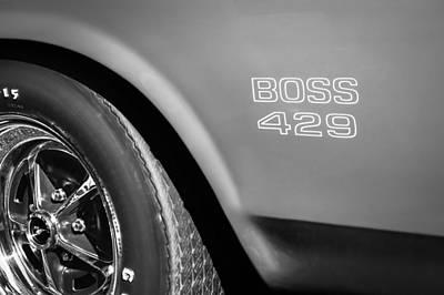 1970 Ford Mustang Boss 429 Wheel Emblem -0370bw Art Print by Jill Reger