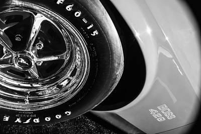 Photograph - 1970 Ford Mustang Boss 429 Wheel Emblem -0387bw by Jill Reger