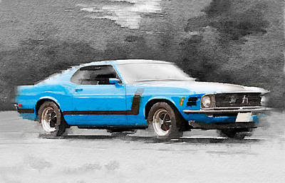 Vintage Mixed Media - 1970 Ford Mustang Boss Blue Watercolor by Naxart Studio