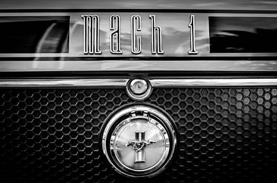 American Cars Photograph - 1970 Ford Mustang Gt Mach 1 Emblem -0347bw46 by Jill Reger