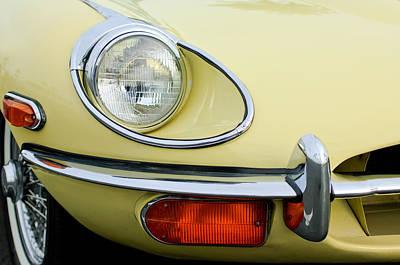 Jaguar E Type Classic Car Photograph - 1970 Jaguar Xk Type-e Headlight by Jill Reger