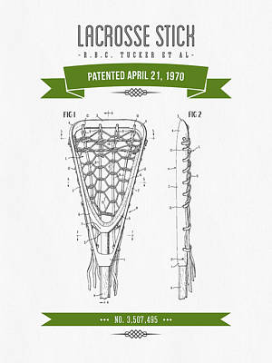 1970 Lacrosse Stick Patent Drawing - Retro Green Art Print by Aged Pixel
