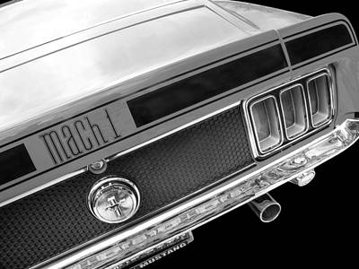 Vintage Ford Mustang Photograph - 1970 Mach1 Mustang Rear In Black And White by Gill Billington