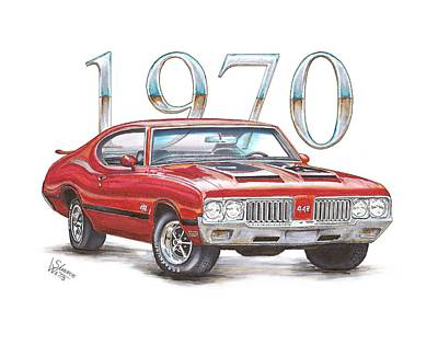 Chip Foose Drawing - 1970 Oldsmobile 442 by Shannon Watts