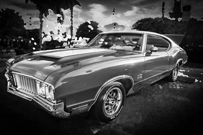 Photograph - 1970 Oldsmobile 442 W30 Bw by Rich Franco