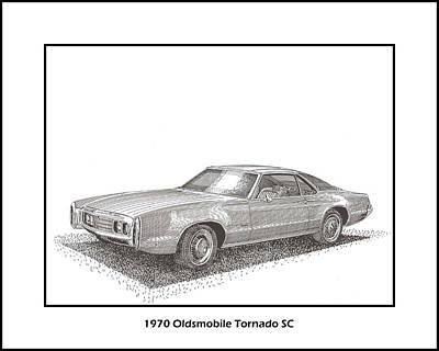 Light Paint Drawing - 1970 Oldsmobile Tornado S C by Jack Pumphrey