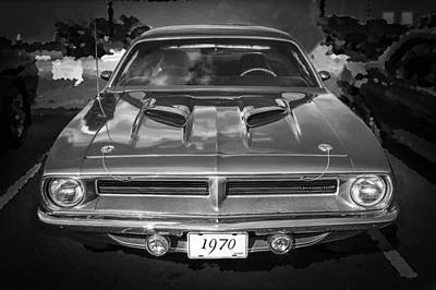 Photograph - 1970 Plymouth Hemi Barracuda Bw by Rich Franco