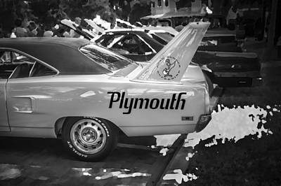 Photograph - 1970 Plymouth Road Runner Hemi Super Bird Bw by Rich Franco