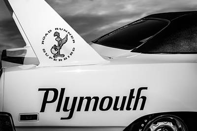 Roadrunner Photograph - 1970 Plymouth Superbird Emblem -0520bw by Jill Reger
