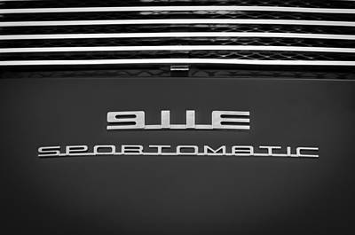 Photograph - 1970 Porsche 911 E 22 Coupe Sportomatic Emblem -0297bw by Jill Reger