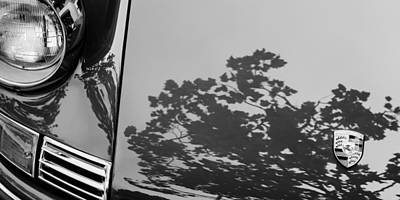 Photograph - 1970 Porsche 911 S 2.2 Coupe Hood Emblem -0041bwp by Jill Reger