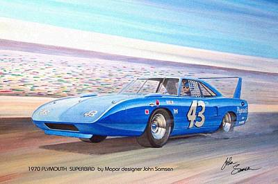 Plymouth Cuda Painting - 1970 Superbird Petty Nascar Racecar Muscle Car Sketch Rendering by John Samsen
