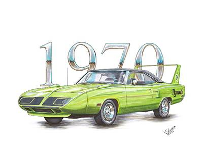 Super Cars Drawing - 1970 Superbird by Shannon Watts