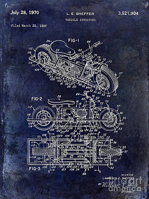 Kawasaki Photograph - 1970 Triumph Motorcycle Patent Drawing Blue by Jon Neidert