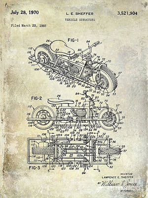1970 Triumph Motorcycle Patent Drawing Art Print by Jon Neidert