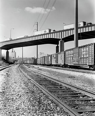 Freight Train Photograph - 1970s Angled View Of Freight Train by Vintage Images