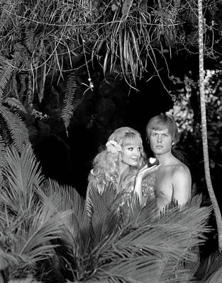 Black And White Studio Nude Photograph - 1970s Blond Couple Posed As Adam & Eve by Vintage Images