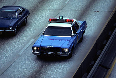 Police Cruiser Photograph - 1970s Blue And White New York City by Vintage Images