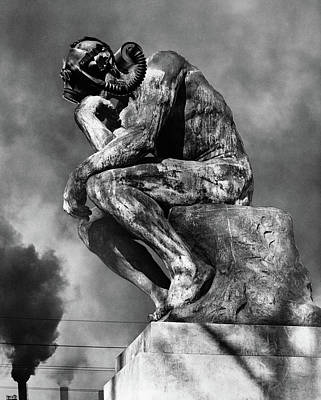 Sadness Painting - 1970s Bronze Statue Of Rodins Thinker by Vintage Images