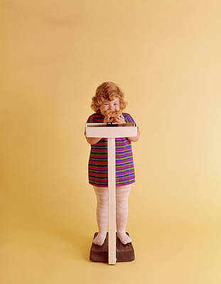 Self Shot Photograph - 1970s Chubby Blonde Girl Striped Dress by Vintage Images