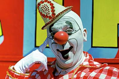1970s Circus Clown Smiling Looking Art Print