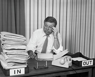 1970s Concerned Businessman Staring Art Print