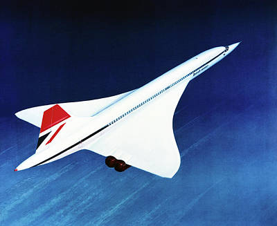 Airliners Photograph - 1970s Concorde In Flight by Us National Archives