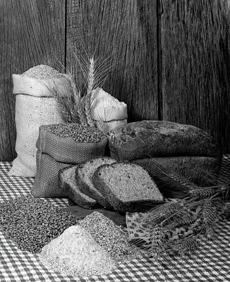 Checkered Tablecloth Photograph - 1970s Harvest Farm Still Life Of Bags by Vintage Images