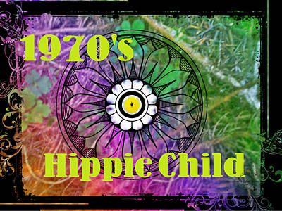 Digital Art - 1970's Hippie Child by Absinthe Art By Michelle LeAnn Scott