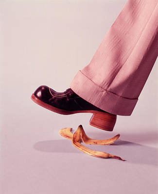 1970s Man About To Slip On Banana Peel Art Print