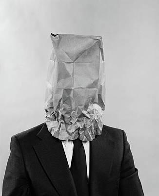 Paper Bag Photograph - 1970s Man Business Suit Paper Bag by Vintage Images
