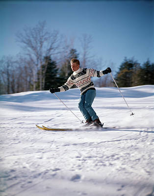 Skiing Action Photograph - 1970s Man Skiing Down Hill by Vintage Images
