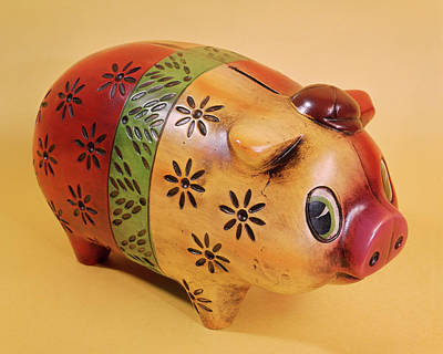 1970s Painted And Carved Wooden Piggy Art Print