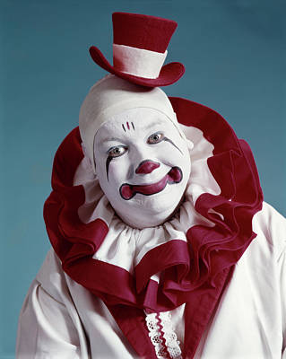 Stereotype Photograph - 1970s Portrait Of Circus Clown In Red by Vintage Images