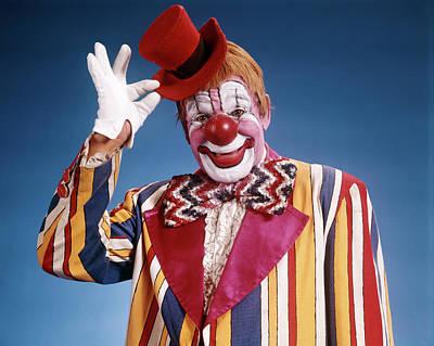 1970s Portrait Of Clown In Striped Art Print
